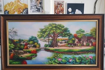 Trang trí nhà ấm cúng với tranh phong cảnh làng quê