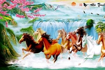 Ý nghĩa tranh sơn dầu Song Mã phong thủy hữu tình