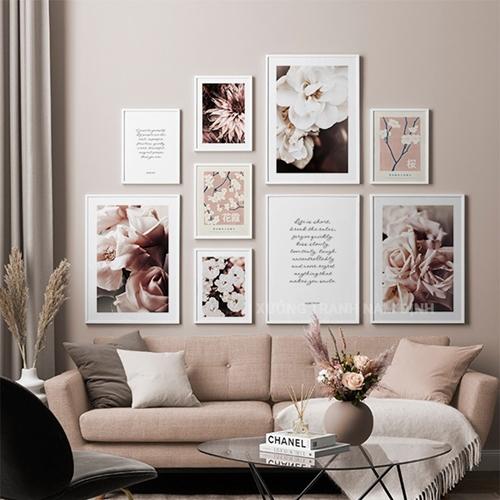 Set 9 tranh hoa trang trí phong cách châu âu sang trọng