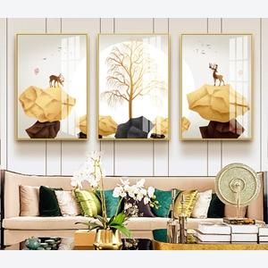 Tranh bộ 3 bức trừu tượng cây và hươu vàng