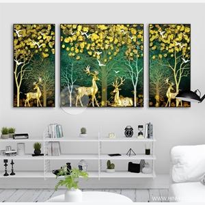 Tranh bộ 3 bức, hươu và cây tuần lộc vàng