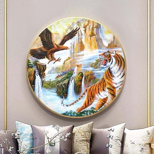 Tranh tròn chim đại bàng và hổ