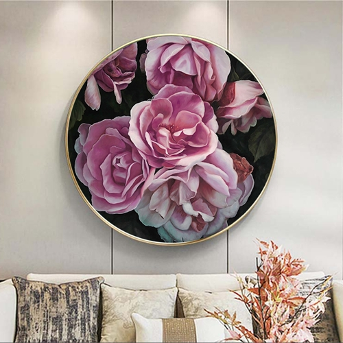 Tranh tròn hoa hồng treo tường