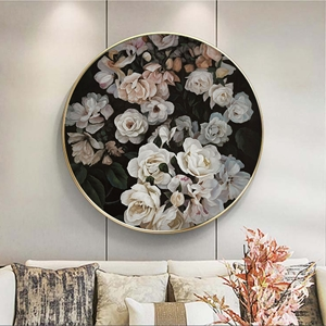 Tranh tròn treo tường hoa hồng trắng