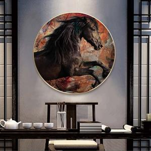 Tranh treo tường, tranh tròn chú ngựa phi