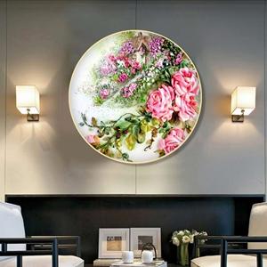 Tranh tròn hoa hồng treo tường chuẩn đẹp