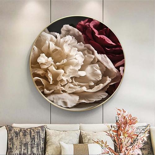 Tranh treo tường, tranh tròn hoa  trắng và đỏ