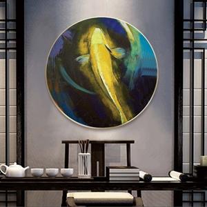 Tranh treo tường, tranh tròn chú cá chép vàng