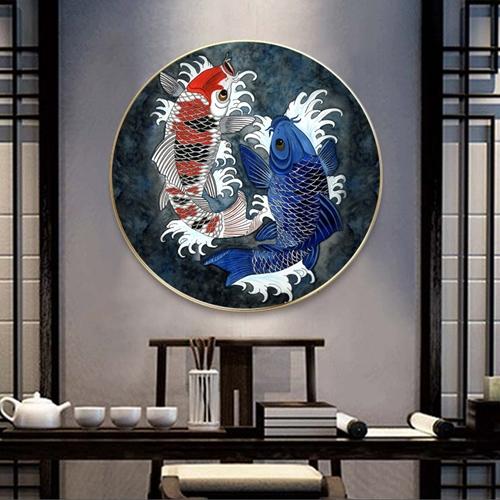 Tranh treo tường, tranh tròn cá chép sắc màu