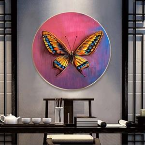 Tranh treo tường, tranh tròn con bướm sắc màu