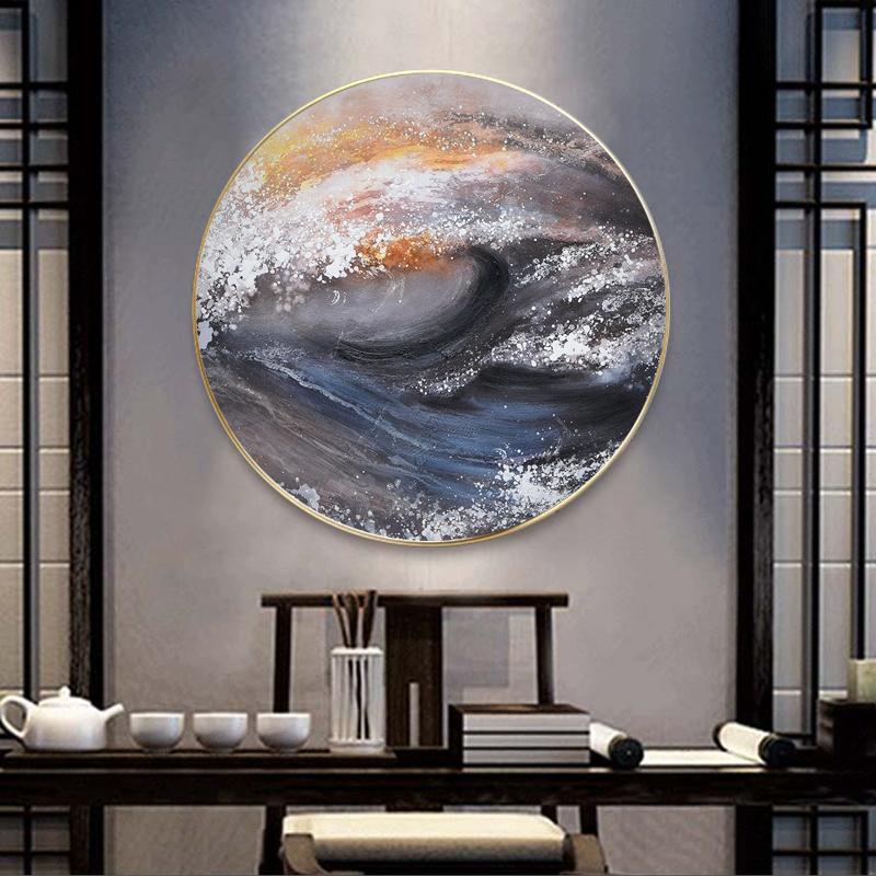 Tranh trừu tượng, tranh tròn con sóng cuốn