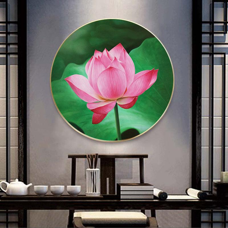 Tranh treo tường, tranh tròn hoa sen đẹp