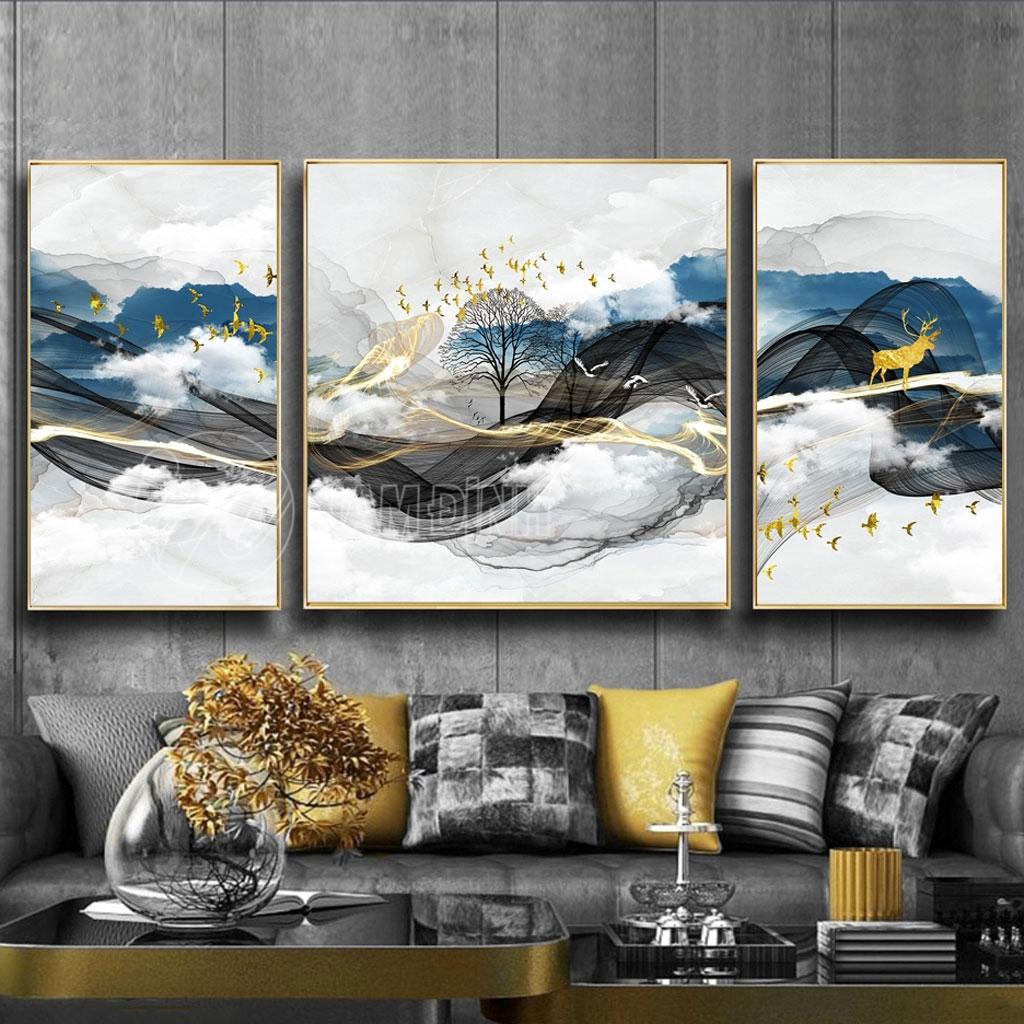 Bộ ba tranh phong cảnh núi
