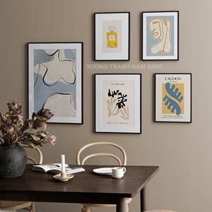 Tranh bộ 5 bức, tranh trừu tượng hình line art