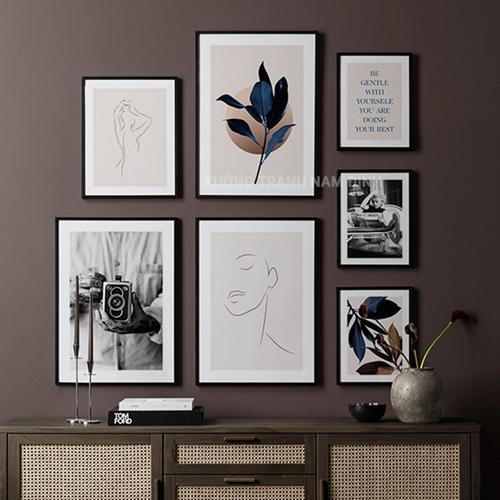 Set 7 bức hoa lá và người phác họa theo phong cách nghệ thuật