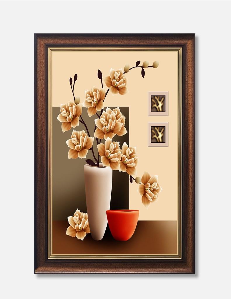 Tranh lọ hoa, màu vàng trang trí đẹp