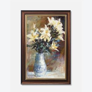 Tranh lọ hoa loa kèn màu trắng