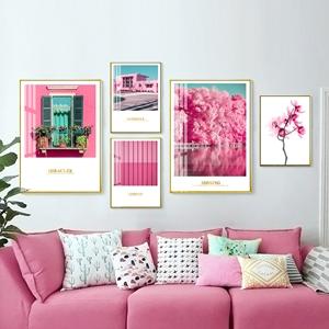 Tranh bộ 5 bức khung cửa sổ hồng, cảnh vật