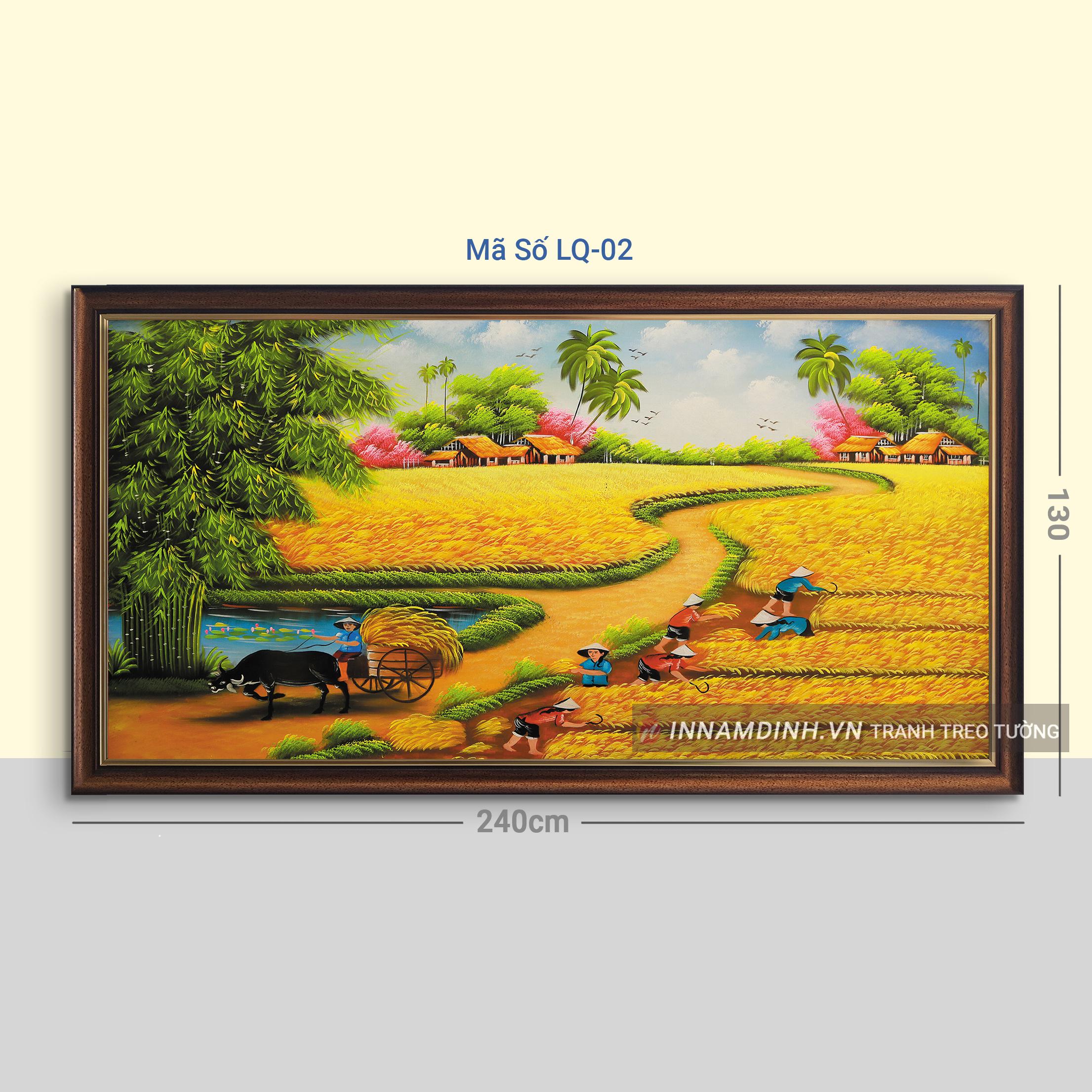 Tranh phong cảnh làng quê vào màu gặt lúa