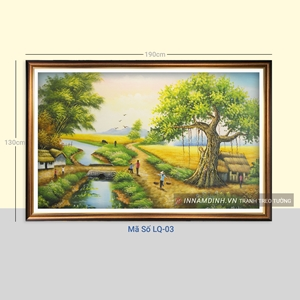 Tranh phong cảnh làng quê cây đa, ruộng lúa