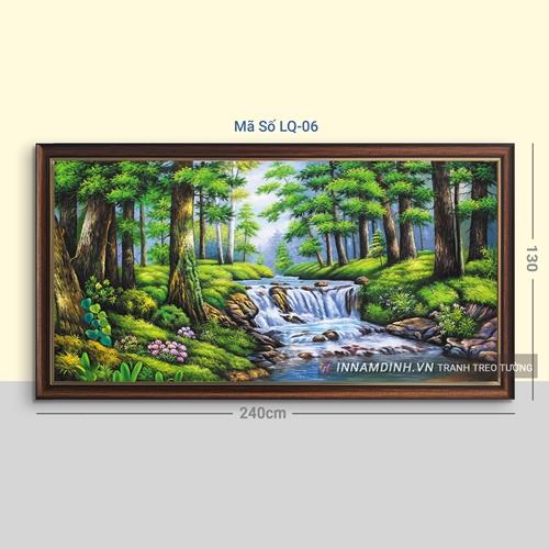 Tranh phong cảnh thủy mặc cây và thác nước