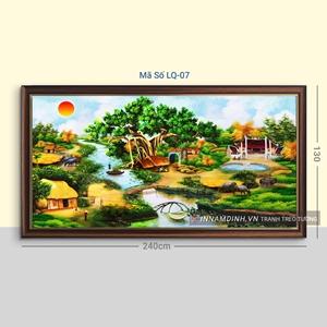 Tranh phong cảnh làng quê ngôi nhà và gốc đa