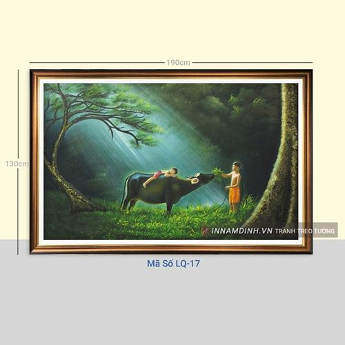 Tranh phong cảnh làng quê cậu bé chăn trâu
