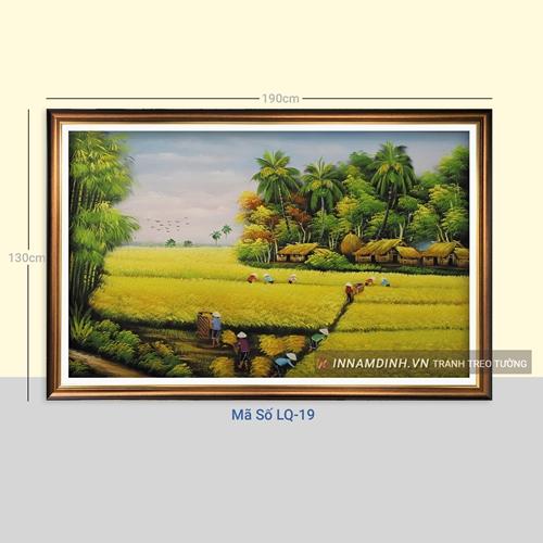 Tranh phong cảnh làng quê vào mùa gặt lúa