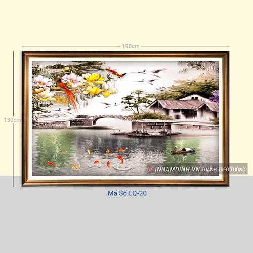 Tranh làng quê, cá chép và hoa bên sông quê