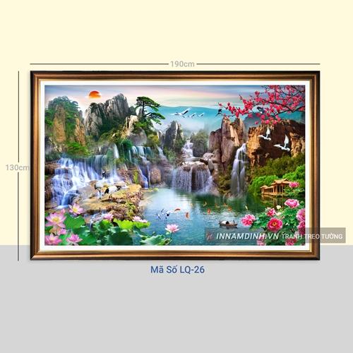 Tranh sơn thủy hữu tình, hoa sen, cá, chim hạc