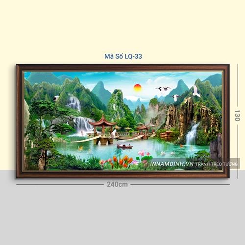 Tranh sơn thủy hữu tình, thác nước và cây