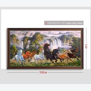 Tranh mã đáo thành công, ngựa và thác nước chảy