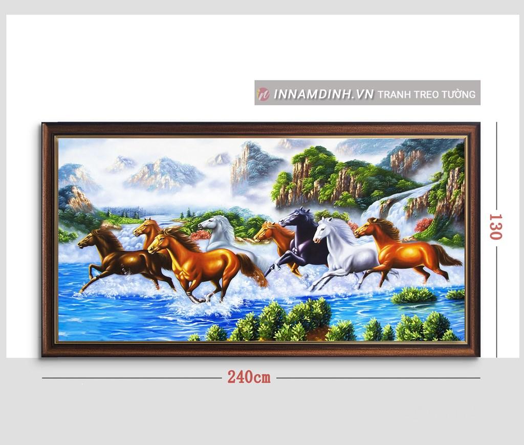 Tranh mã đáo thành công, ngựa phi trên suối nước