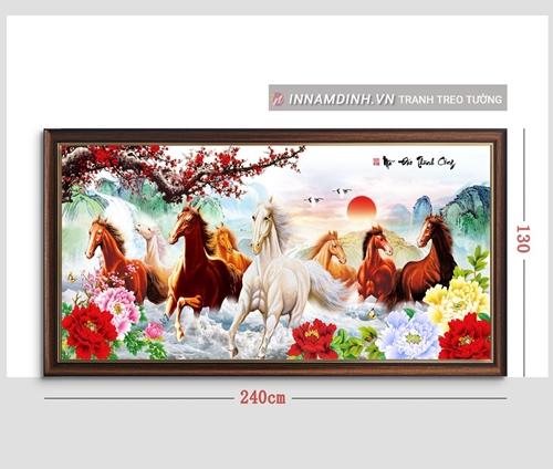 Tranh mã đáo thành công, ngựa phi và hoa mẫu đơn