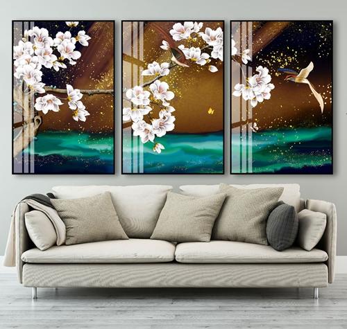Tranh bộ 3 hoa trắng và chim