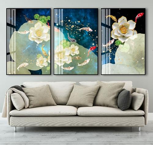 Tranh bộ 3 bức cá chép và hoa