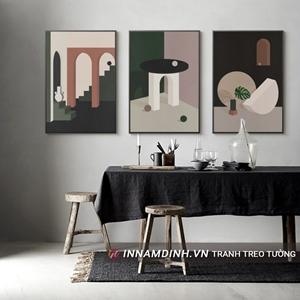 Bộ ba tranh line art nghệ thuật