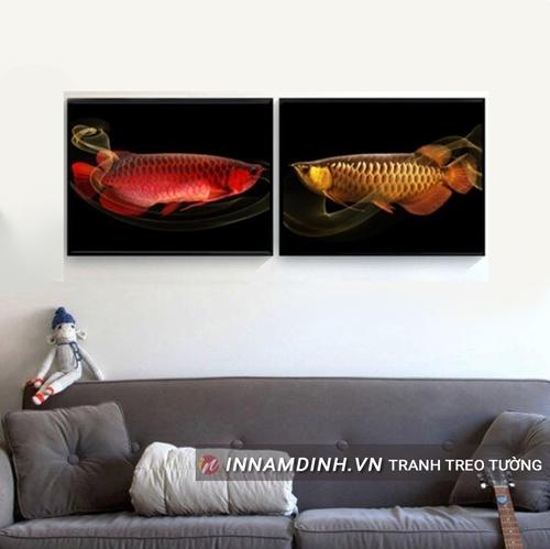 Bộ hai tranh cá rồng đỏ vàng