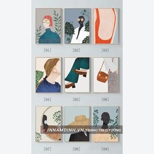 Bộ 9 bức tranh thời trang phong cách line art