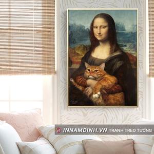 Tranh mona lisa bế mèo