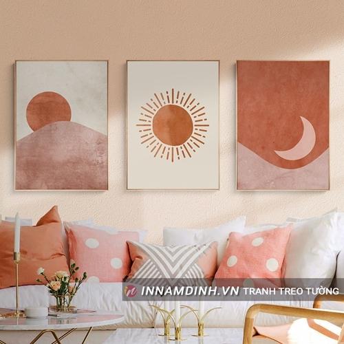 Tranh line art nghệ thuật mặt trời