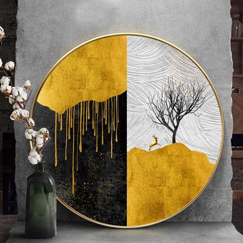 Tranh tròn trừu tượng hươu vàng và cây