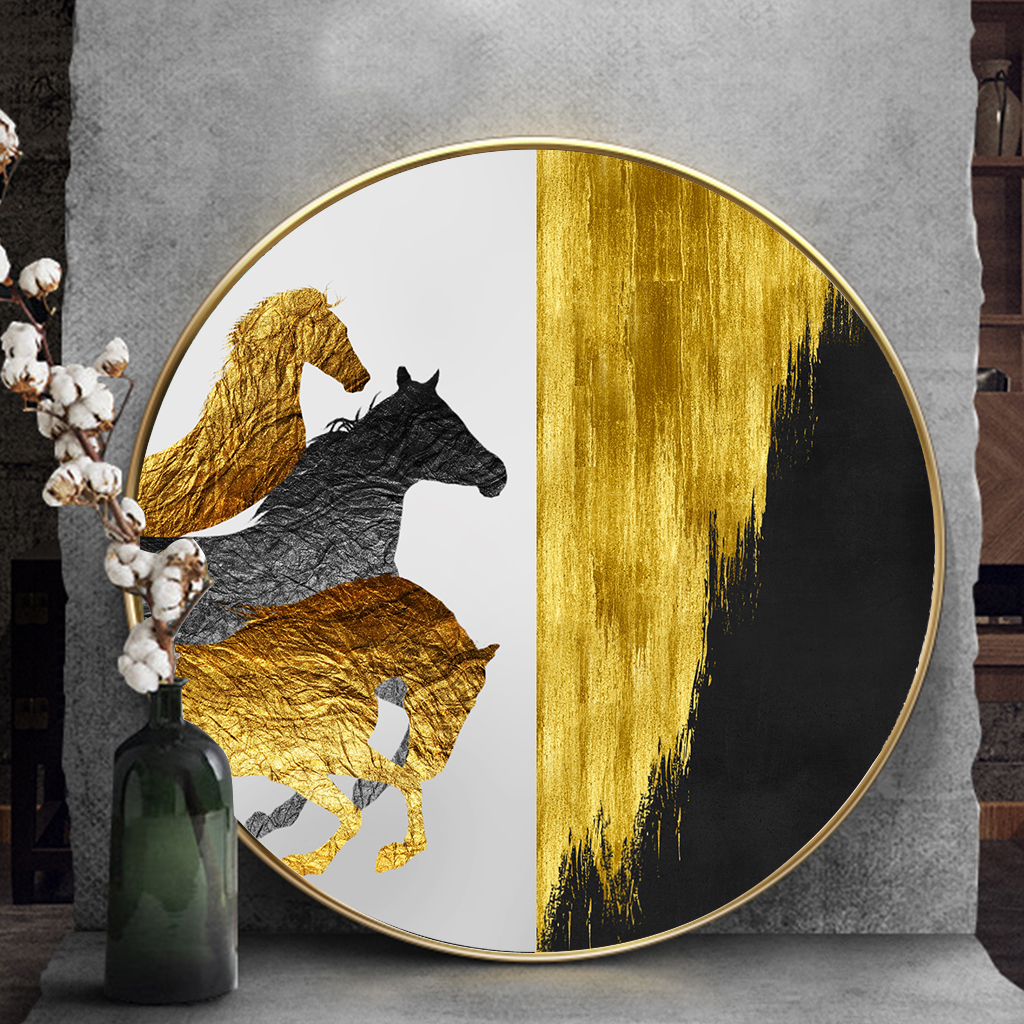 Tranh tròn treo tường 3 con hươu vàng đen
