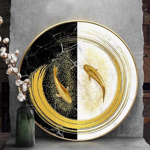 Tranh tròn treo tường, đôi cá vàng trừu tượng