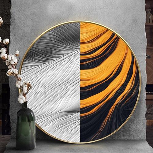 Tranh treo tường, tranh tròn trừu tượng 3 màu