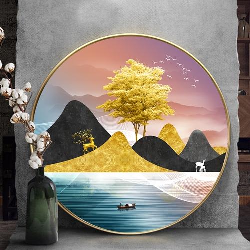 Tranh tròn, cây tuần lộc vàng và hươu