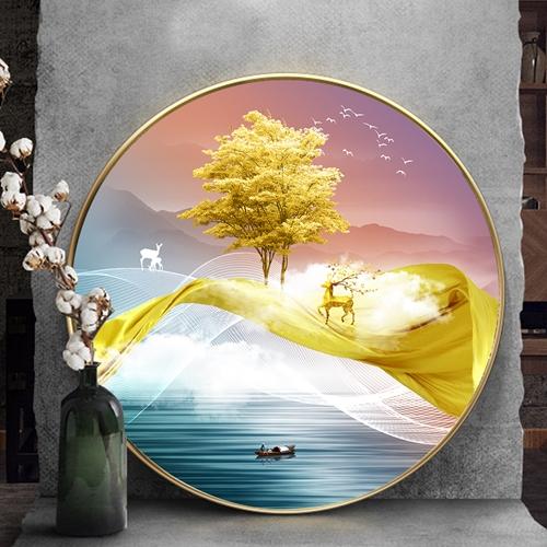 Tranh tròn, cây tuần lộc vàng dải vân trừu tượng