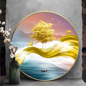 Tranh tròn, cây tuần lộc vàng dải vân và hươu