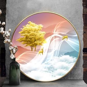 Tranh tròn, cây tuần lộc, dải vân và hươu