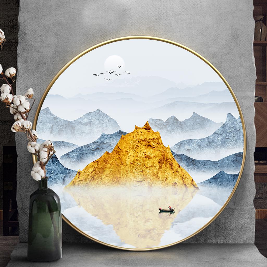 Tranh tròn, dãy núi trùng điệp và người trên sông
